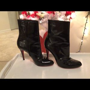 Christian louboutin patten leather boots